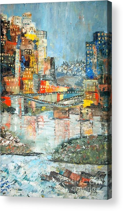 Cityscape Acrylic Print featuring the painting City By The River - Sold by Judith Espinoza