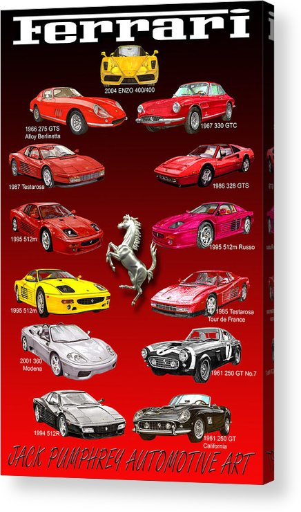 Framed Prints Of Ferrari Art Acrylic Print featuring the painting Ferrari Sports Car Poster by Jack Pumphrey