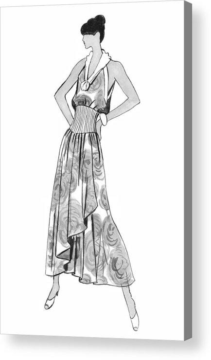 Fashion Illustration Acrylic Print featuring the drawing It's Sarong It's Right by Sarah Parks
