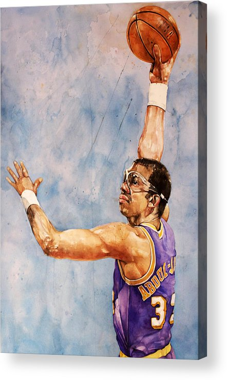 Lakers Acrylic Print featuring the painting Kareem Abdul Jabbar by Michael Pattison