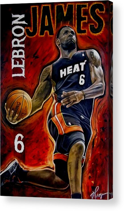 Lebron James Acrylic Print featuring the painting Lebron James Oil Painting-original by Dan Troyer