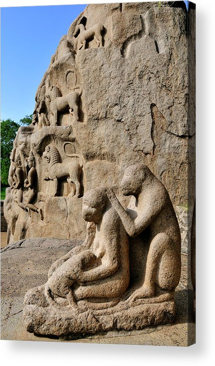 Ancient Acrylic Print featuring the photograph Monkey Sculptures Near The Arjuna's by Steve Roxbury