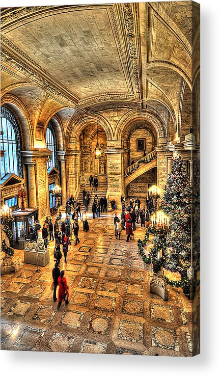 Architecture Acrylic Print featuring the photograph Ny Library Foyer by Tina Baxter