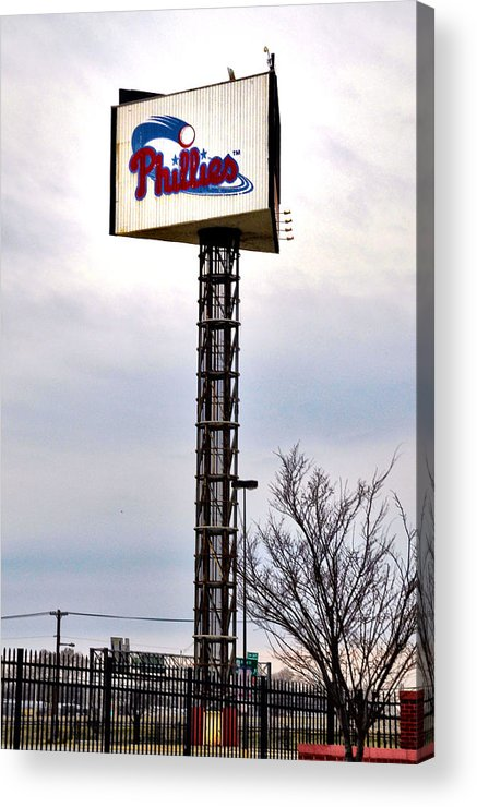 Phillies Acrylic Print featuring the photograph Phillies Stadium Sign by Bill Cannon