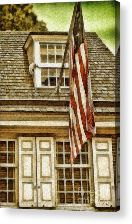 Stars And Tripes Acrylic Print featuring the painting Stars And Stripes by Mo T