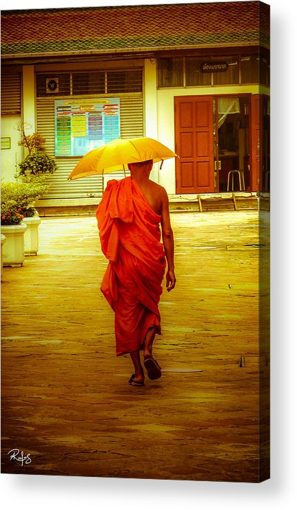 Monk Acrylic Print featuring the photograph Walking In The Sun by Allan Rufus