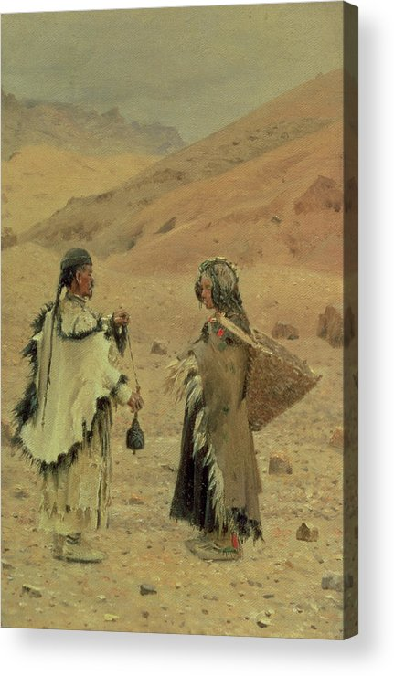 Tibetan Acrylic Print featuring the photograph West Tibetans, 1875 Oil On Canvas by Piotr Petrovitch Weretshchagin