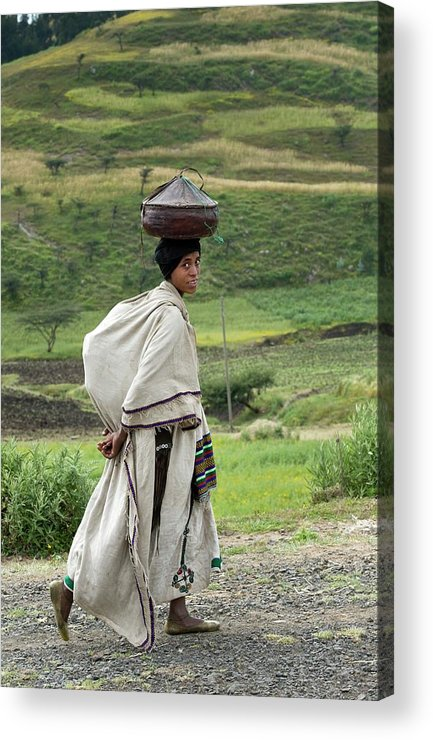 Africa Acrylic Print featuring the photograph Woman Balancing Lunchbox On Her Head by Tony Camacho
