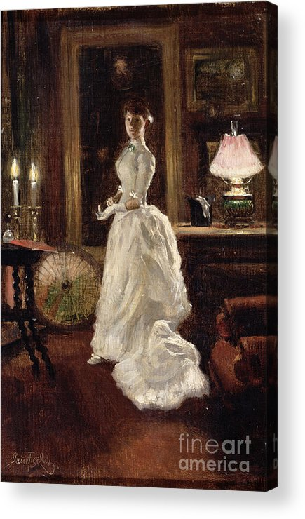 Interior Acrylic Print featuring the painting Interior Scene With A Lady In A White Evening Dress by Paul Fischer