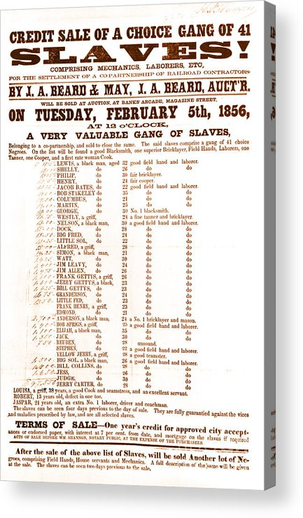 Abolition Acrylic Print featuring the photograph Slave Auction Notice by Photo Researchers, Inc.