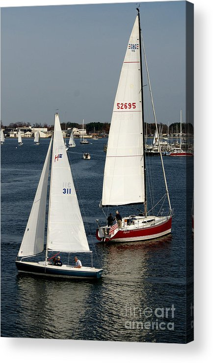 Sailing Acrylic Print featuring the photograph Crossing Paths by Angela DiPietro