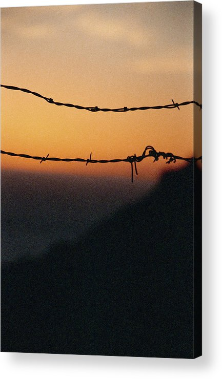 Sunset Acrylic Print featuring the photograph Sunset And Barbed Wire At Big Sur by Christina Weber