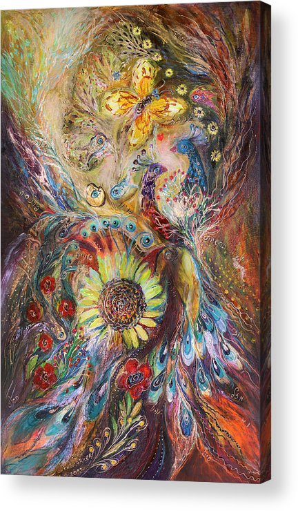 Judaica Acrylic Print featuring the painting The Spirit Of Flowers by Elena Kotliarker