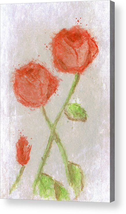 Flowers Acrylic Print featuring the mixed media These Flowers Of Blood by Karen Clark
