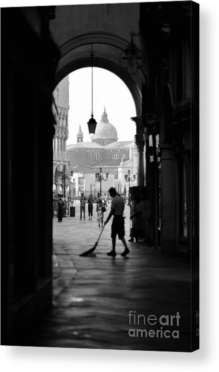Black And White Acrylic Print featuring the photograph Venice Morning Sweeper by Bryan Pereira