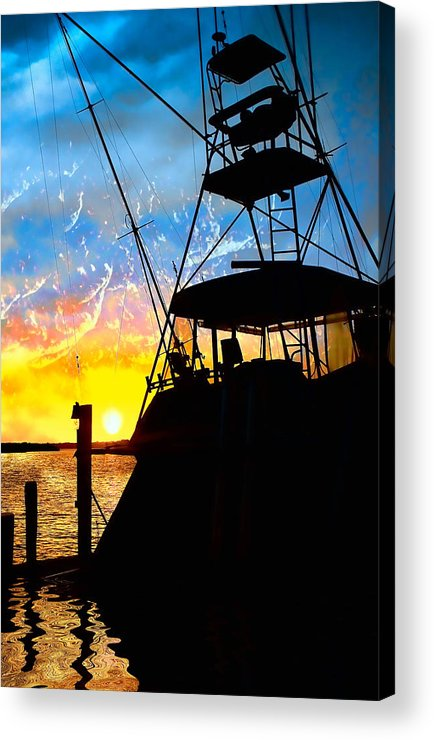 Fishing Acrylic Print featuring the photograph Waiting For Daybreak by Stephen Warren