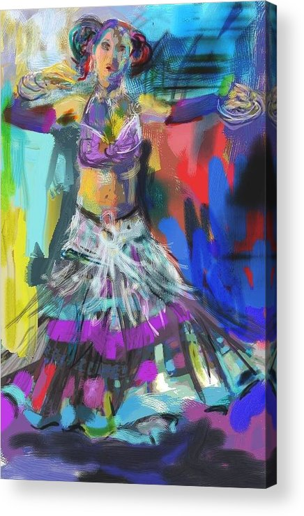 Dancer Acrylic Print featuring the digital art Wild Belly Dancer by Barbara Kelley