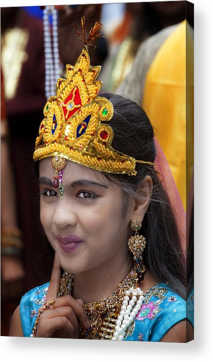 Young Girl Acrylic Print featuring the photograph Young Girl Brahma Kumaris India Day Parade 8 20 12 Nyc by Robert Ullmann