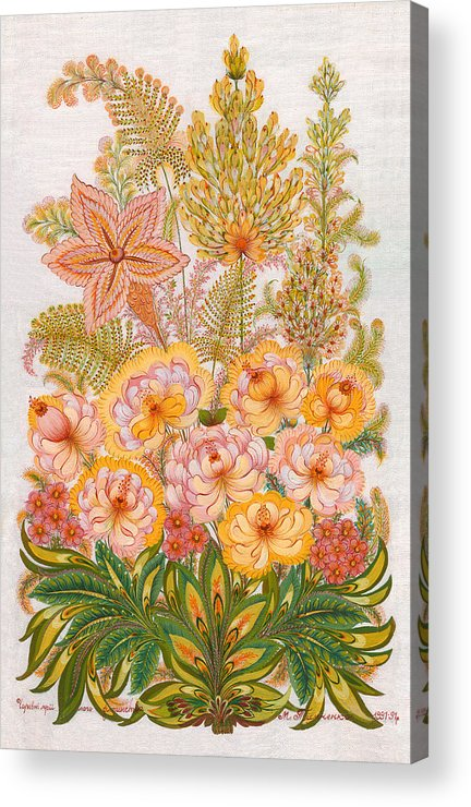 Flowers Acrylic Print featuring the painting Charming Dreams Of My Childhood by Marfa Tymchenko
