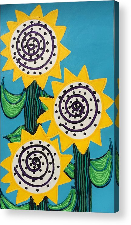 Flowers Acrylic Print featuring the painting 3 Sunflowers by Matthew Brzostoski