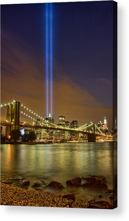 911 Acrylic Print featuring the photograph Twin Towers Of Light by June Marie Sobrito