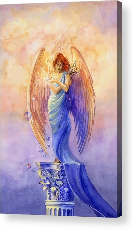 Angel Acrylic Print featuring the painting Angel Of Truth And Illusion by Janet Chui