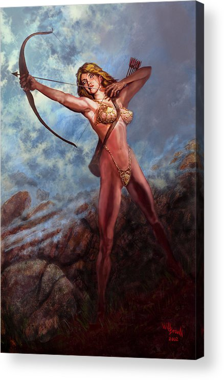 Traditional Digital Acrylic Fantasy Myth Acrylic Print featuring the mixed media Artemis Diana by Will Brown