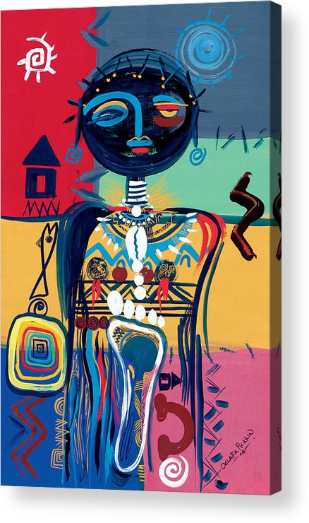 African Acrylic Print featuring the painting Dreaming Of Africa by Oglafa Ebitari Perrin