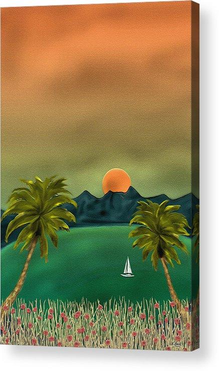 Tropical Island Ocean Sea Seascape Palms Sunset Sailing Sailboat Nature Gordon Beck Art Acrylic Print featuring the painting Emerald Bay by Gordon Beck