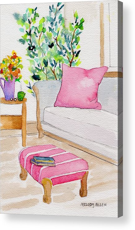Pink Acrylic Print featuring the painting Empty Chair Series 3 by Melody Allen