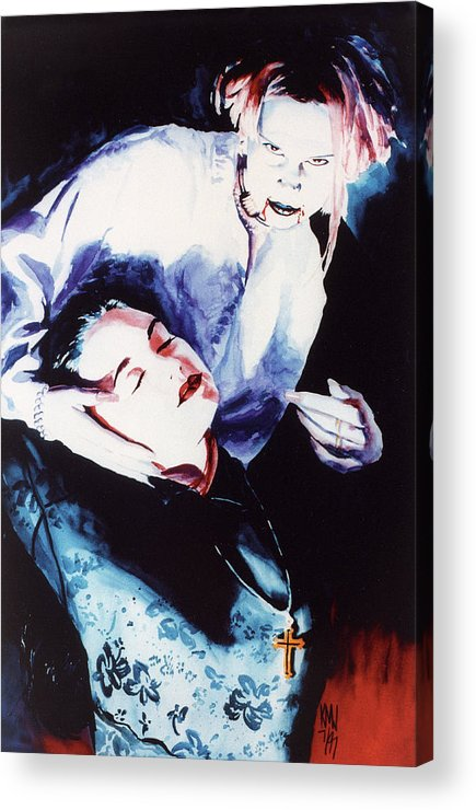 Vampires Acrylic Print featuring the painting First Taste by Ken Meyer