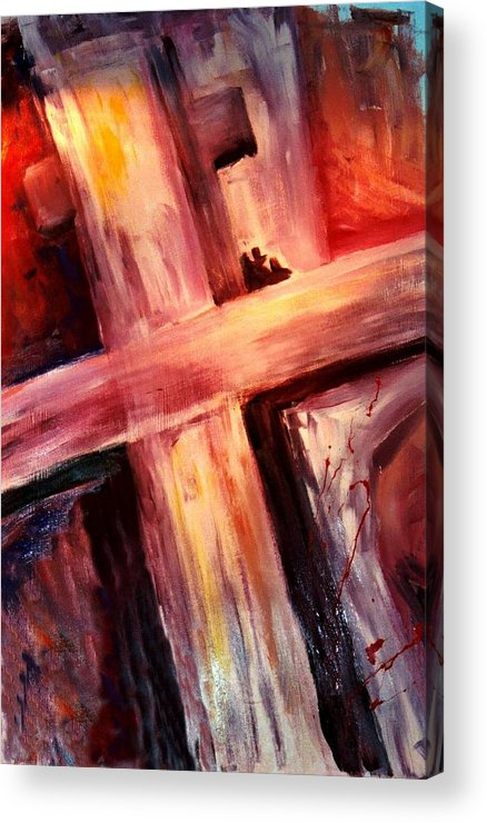 Death Acrylic Print featuring the painting He Died For Me by Jun Jamosmos
