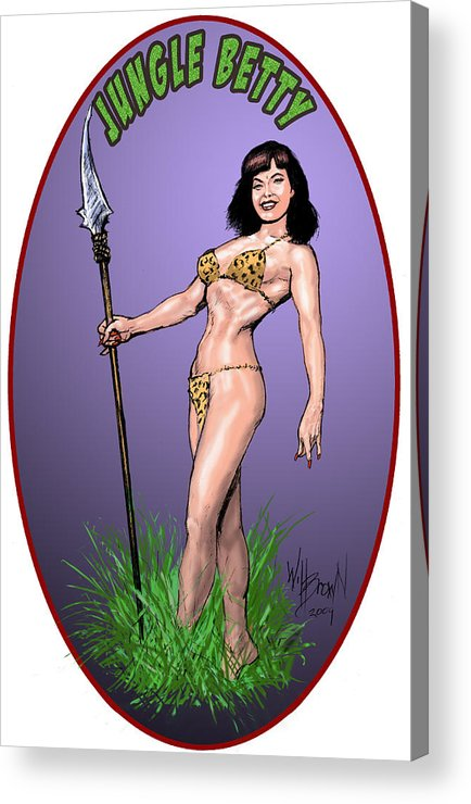 Betty Page Acrylic Print featuring the digital art Jungle Betty T-shirt Design by Will Brown
