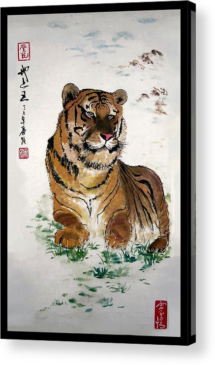 Tiger Acrylic Print featuring the painting King On The Earth by Lilian Storino