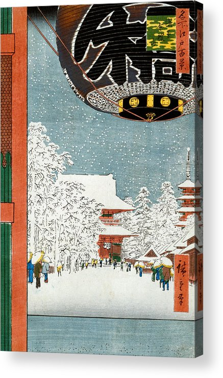 Snow Acrylic Print featuring the painting Kinryuzan Temple At Asakusa by Hiroshige