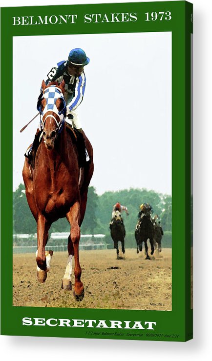 1 1/2 Mile Acrylic Print featuring the painting Looking Back, 1 1/2 Mile Belmont Stakes Secretariat 06/09/73 Time 2 24 - Painting by Thomas Pollart