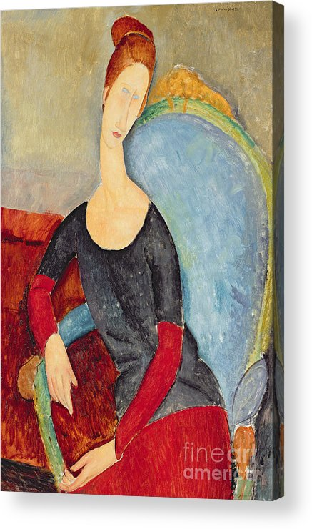Mme Hebuterne In A Blue Chair Acrylic Print featuring the painting Mme Hebuterne In A Blue Chair by Amedeo Modigliani