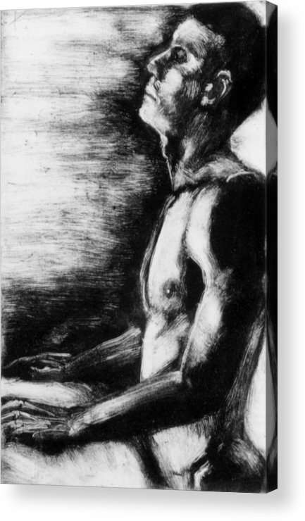 Male Acrylic Print featuring the painting Monotype Series 29 by John Clum