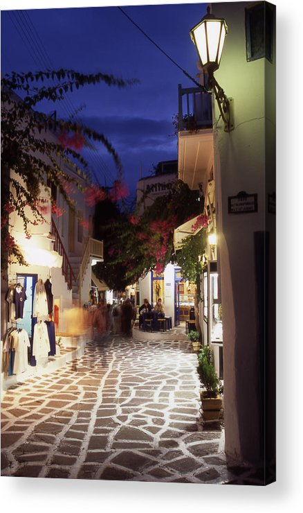 After Dark; ; Blur; Cyclades; Greece Acrylic Print featuring the photograph Mykonos Town At Night by Steve Outram