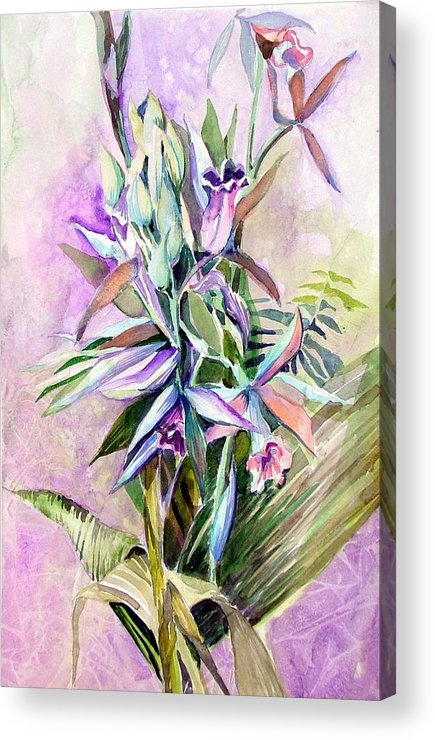 Orchid Acrylic Print featuring the painting Nun's Hood by Mindy Newman
