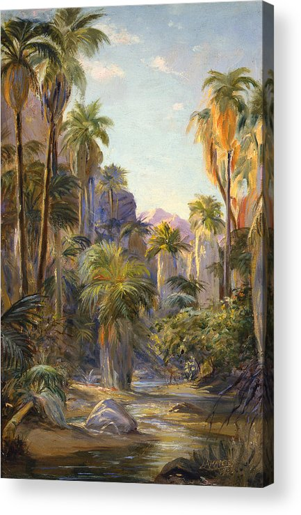 Canyons Acrylic Print featuring the painting Palm Canyon by Lewis A Ramsey