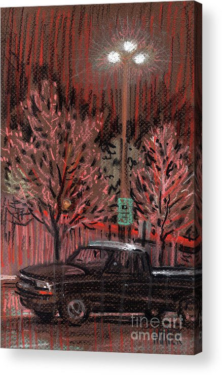 Parking Lot Acrylic Print featuring the drawing Parking Lights by Donald Maier