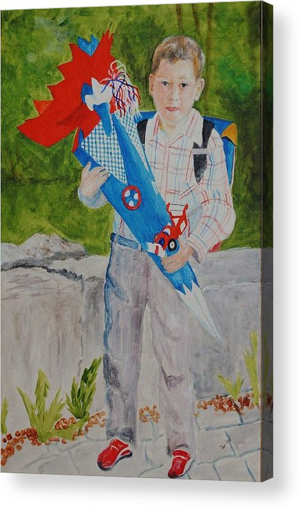 School Acrylic Print featuring the painting Pascals First Day At School 2004 by Helmut Rottler