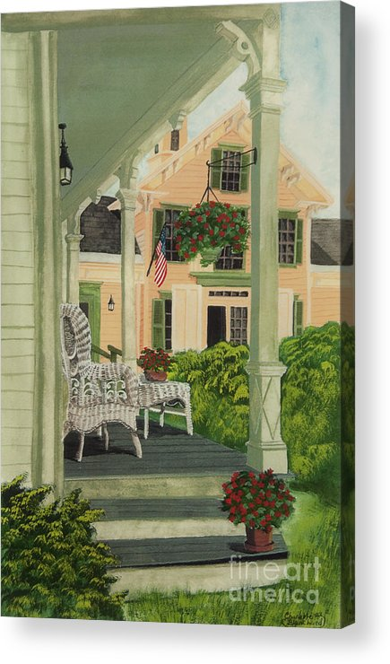 Side Porch Acrylic Print featuring the painting Patriotic Country Porch by Charlotte Blanchard