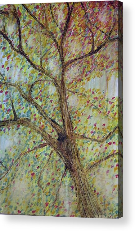 Tree Landscape Rain Dissolve Disappearing Acrylic Print featuring the painting Rain by Sally Van Driest