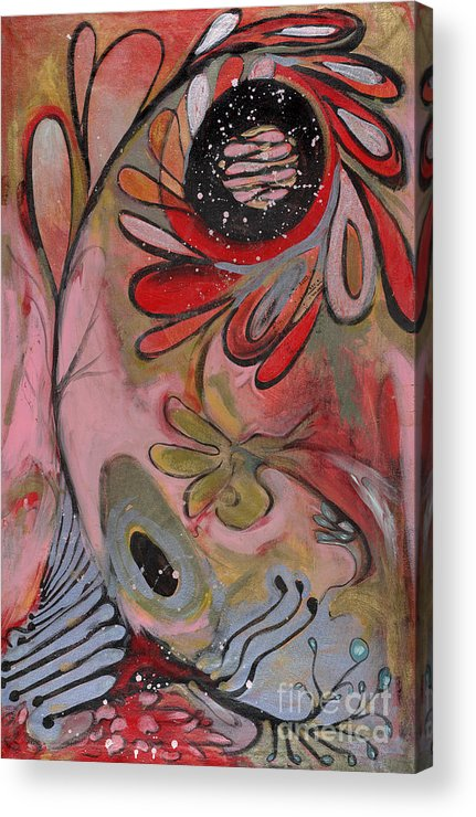 Painting Acrylic Print featuring the painting Red Flower by Michelle Spiziri