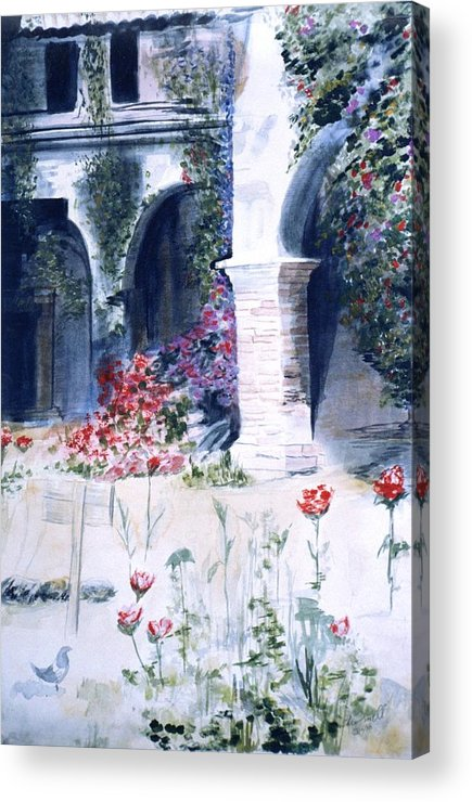 Ca Missions Acrylic Print featuring the painting San Juan Capistrano In The Courtyard by Theo Snell