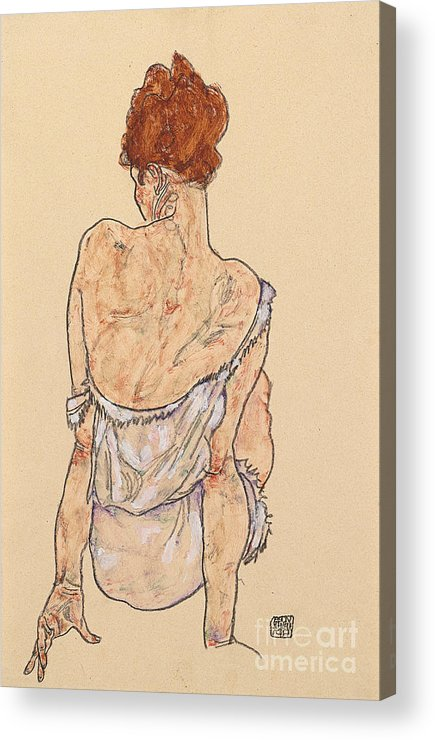 Seated Woman In Underwear Acrylic Print featuring the drawing Seated Woman In Underwear by Egon Schiele