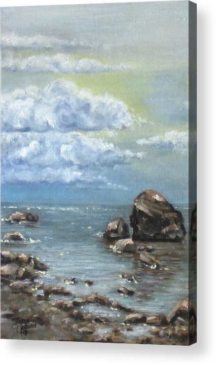Sea Acrylic Print featuring the painting Shimmer by Maren Jeskanen