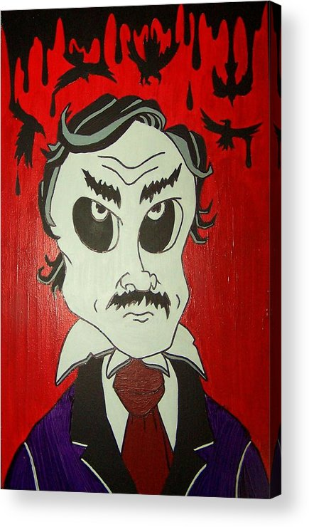 Edgar Acrylic Print featuring the painting Skully Poe by Chris Fifty-one